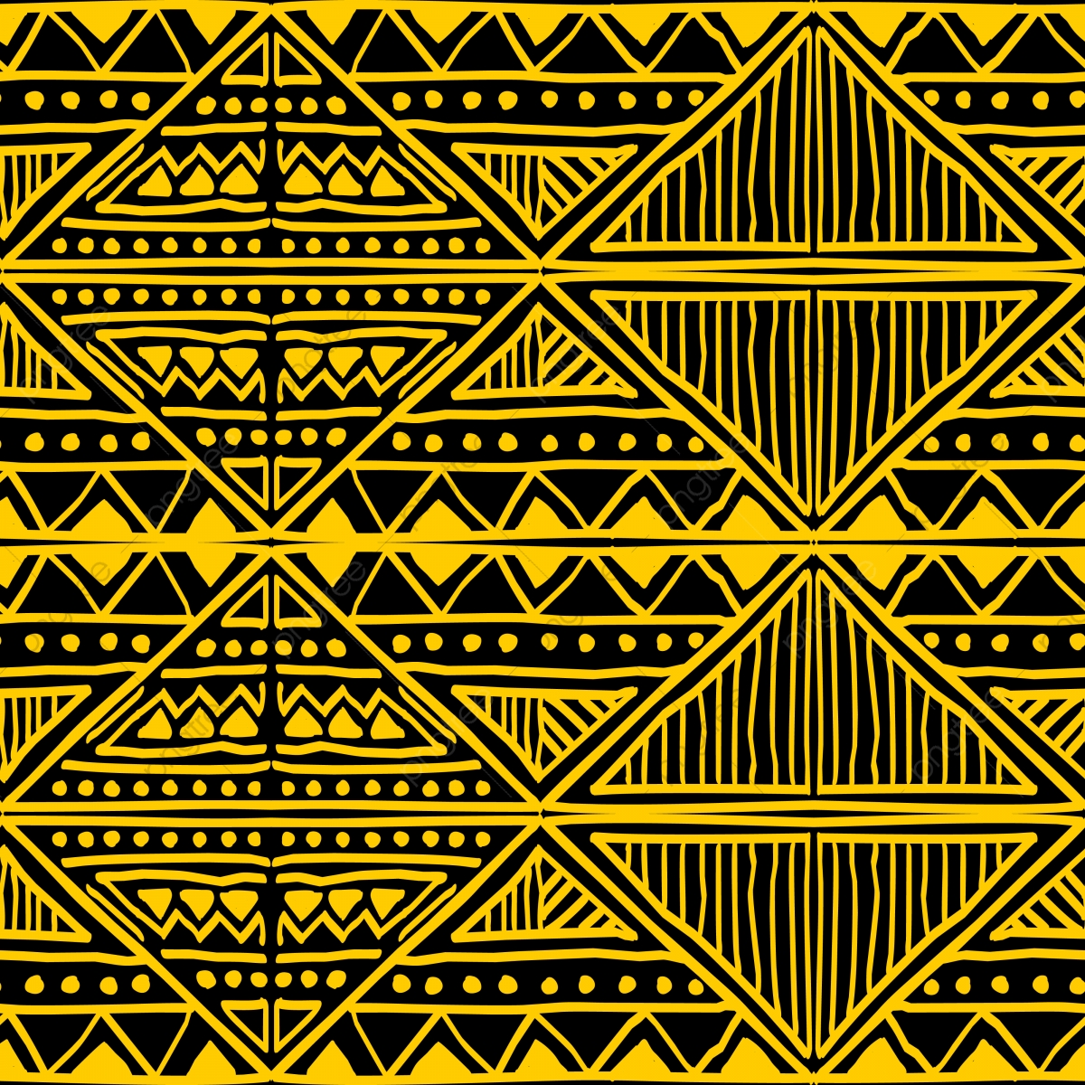 Tribal Seamless Pattern Vector Hand Drawn Batik Motif