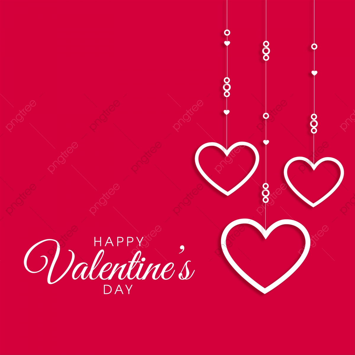 valentine day card on red background pink heart pink