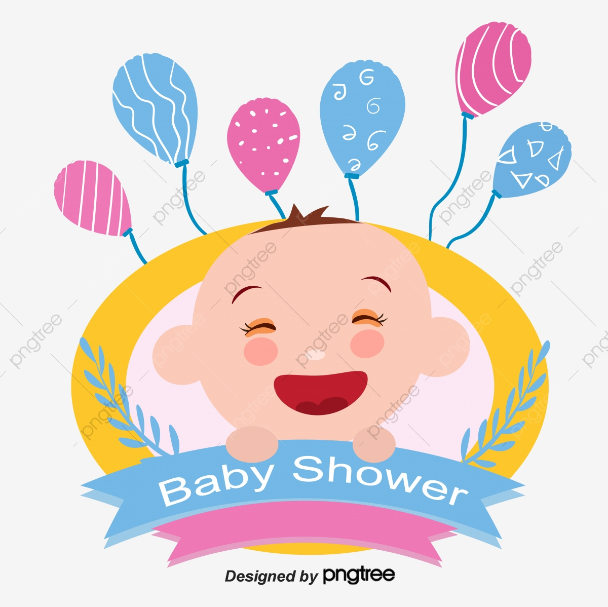 Vector Baby Shower Cute Baby Baby Baby Shower Cartoon Png And Vector With Transparent Background For Free Download