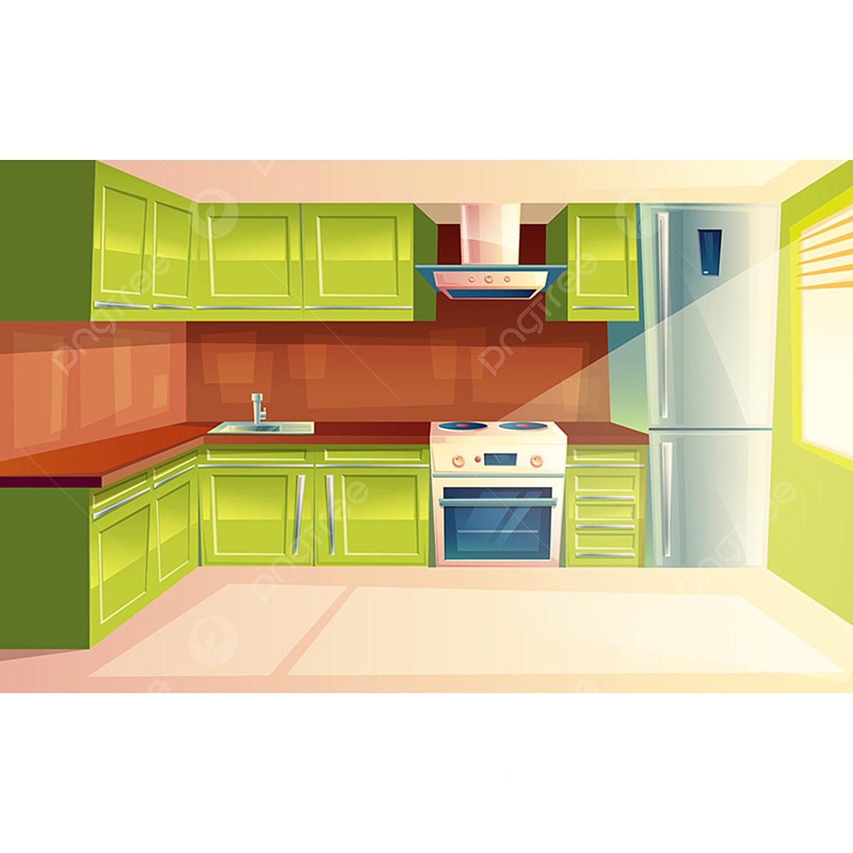 Vector Cartoon Modern Kitchen Interior Background Kitchen