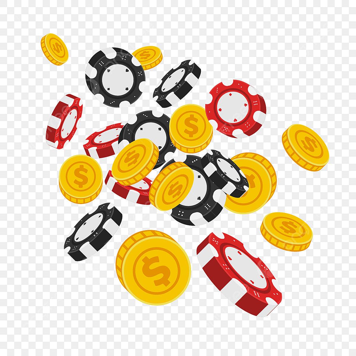 Vector Fliegende Jetons Mit Münzen Schwarze Chip Casino