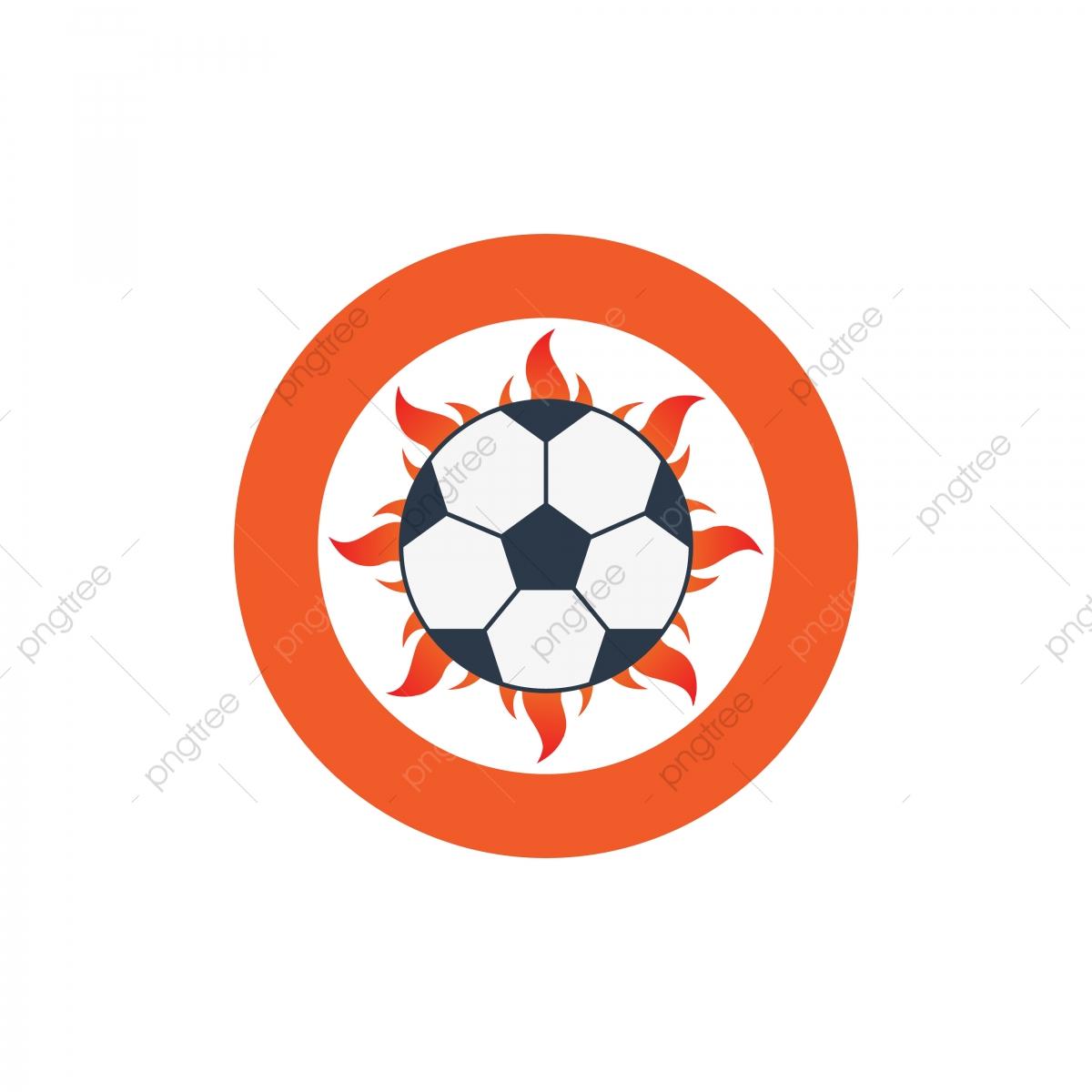 Symbol Fur Vektorillustration Fussball Logo Mit Feuer Und
