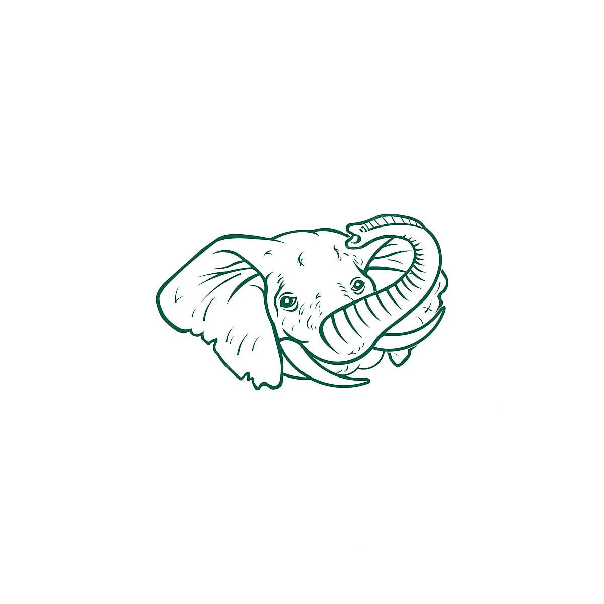 Vektor Dari A Gajah Kepala Bentuk Pada A Putih Latar