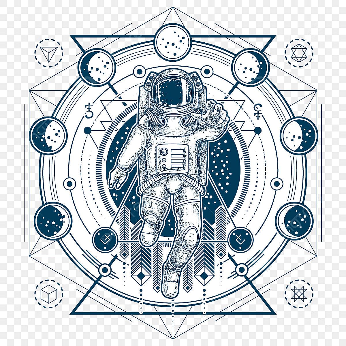Vektorskizze Einer Tätowierung Mit Astronauten In Einem Raum