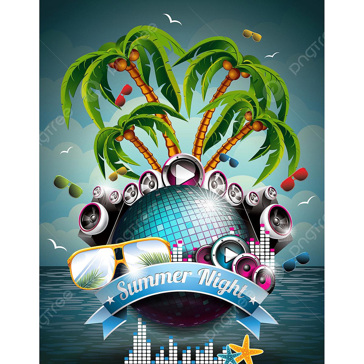 Beach Logo Vectors: Vector Summer Beach Party Flyer Design With Disco Ball And