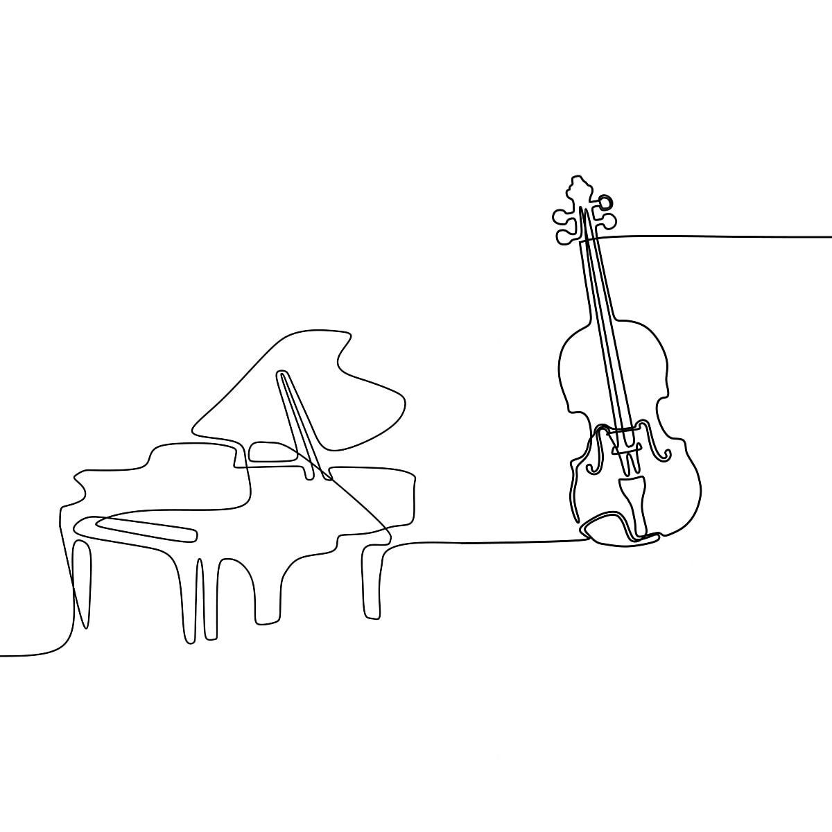 Violino E Piano Uma Linha De Desenho Animado Ilustracao De
