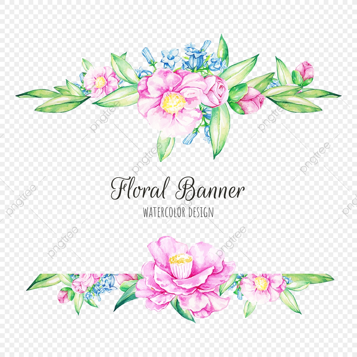 Watercolor Floral Banner, Banner, Beautiful, Blue PNG and ...