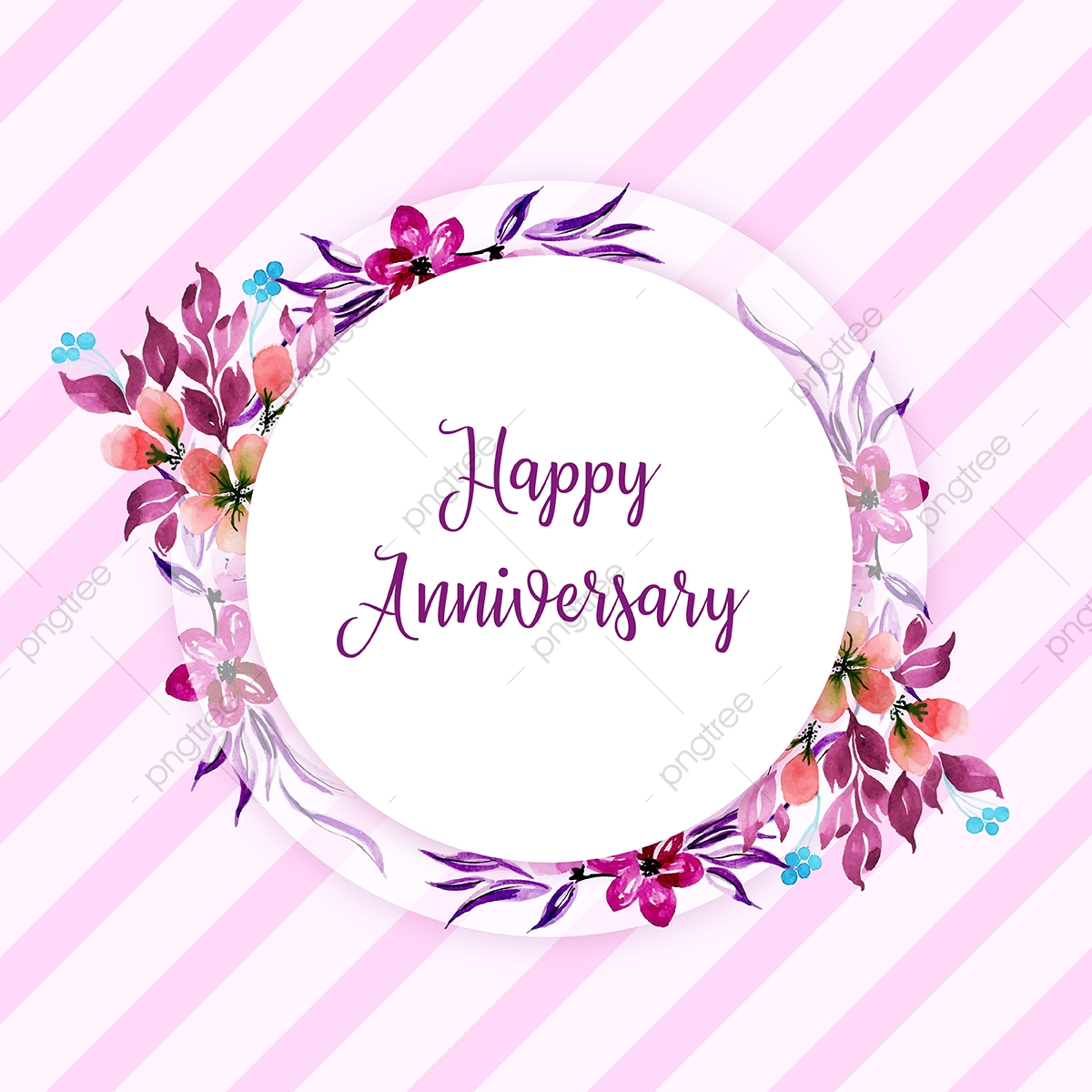 Watercolor Floral Happy Anniversary Frame Background Watercolor Color Floral Png And Vector With Transparent Background For Free Download