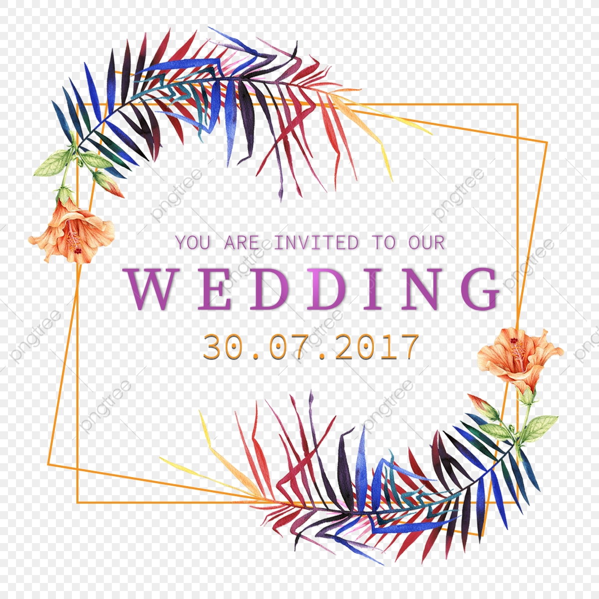 Watercolor Flowers Wedding Invitation Floral Frame Template
