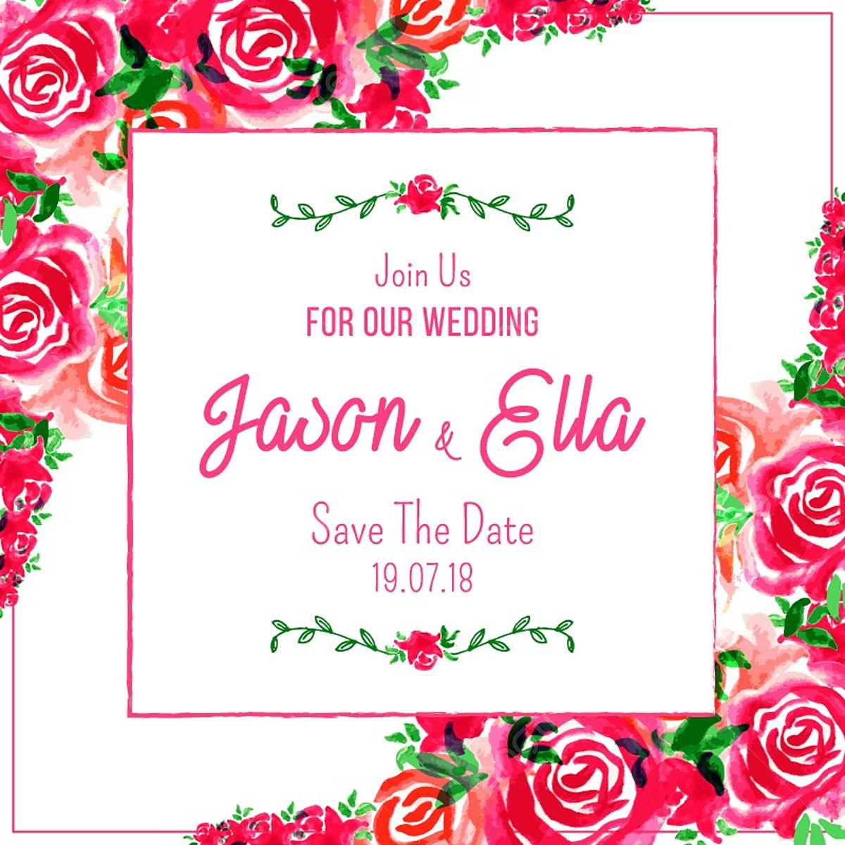 زفاف بطاقة دعوة مع ألوان مائية مرسومة باليد روز فريم