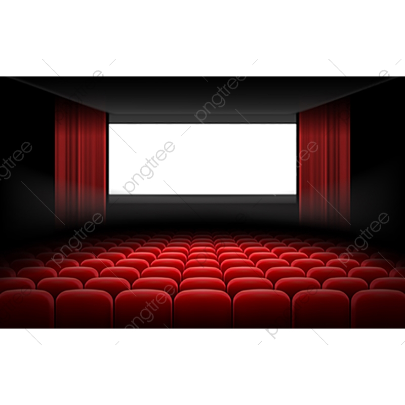 White Cinema Theatre Screen With Red Curtains And Chairs Screen Theater Seat Png And Vector With Transparent Background For Free Download