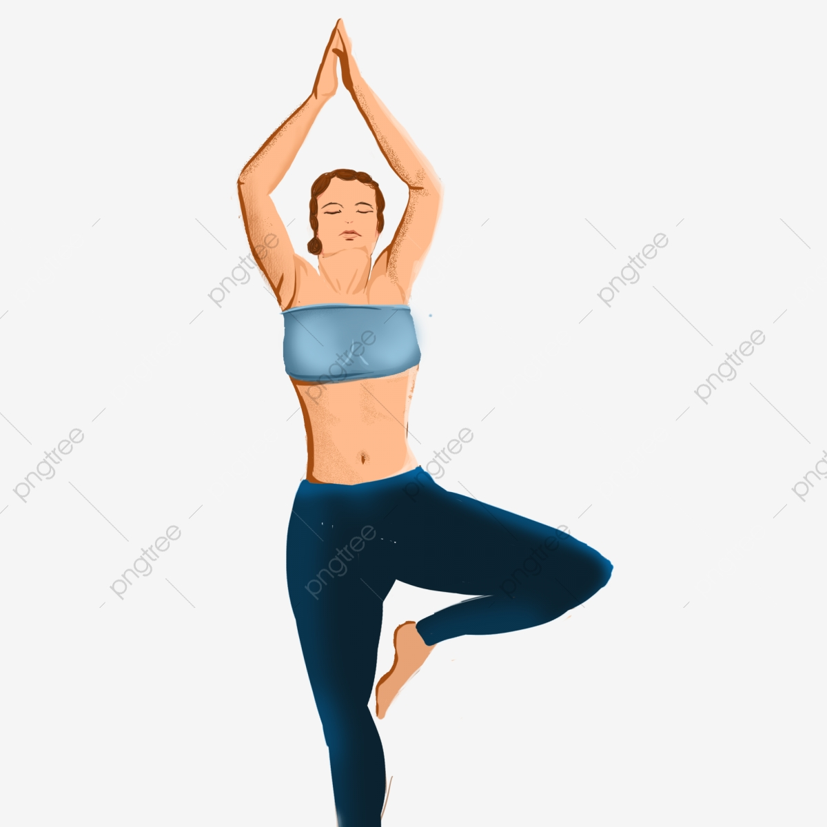 Woman Doing Yoga Weight Loss Illustration Elements Painted Female Fitness Png Transparent Image And Clipart For Free Download