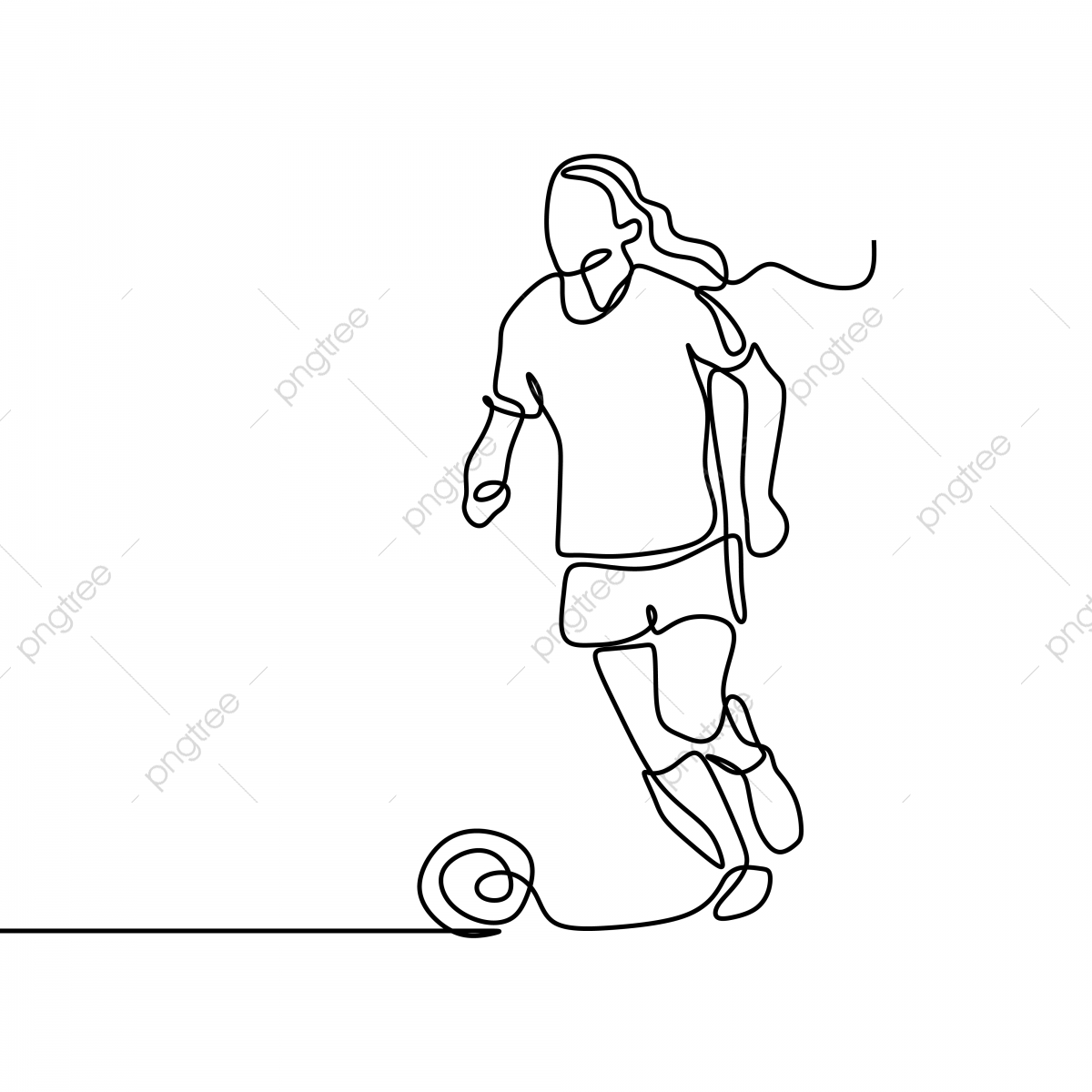 la mujer jugador de futbol continua linea de arte dibujo