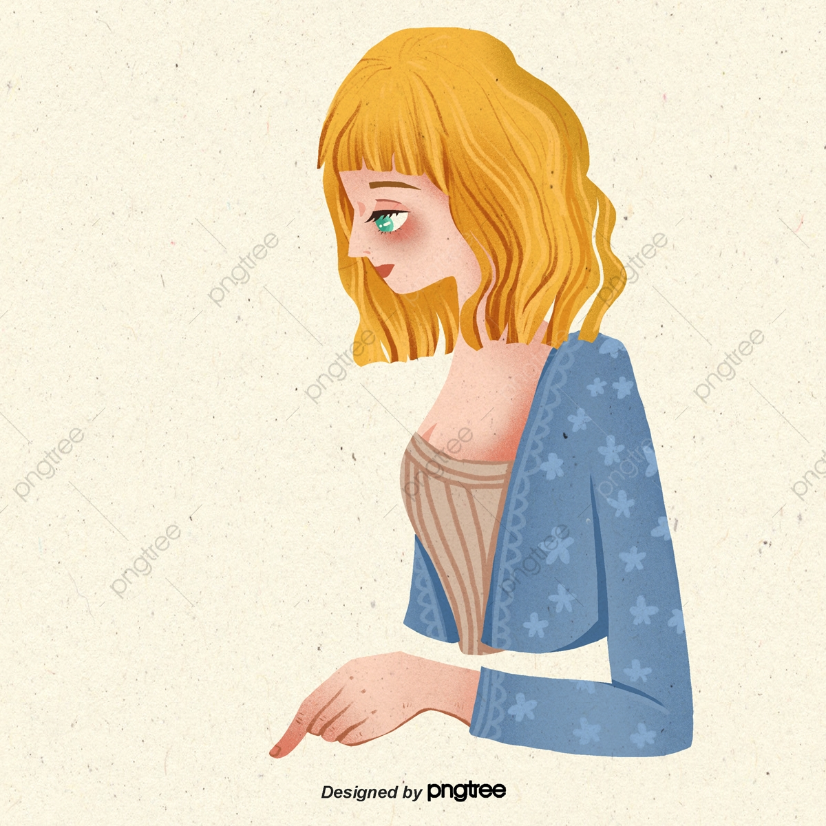 Women With Yellow Curly Hair In A Yellow Background Character Cartoon Lovely Png Transparent Clipart Image And Psd File For Free Download