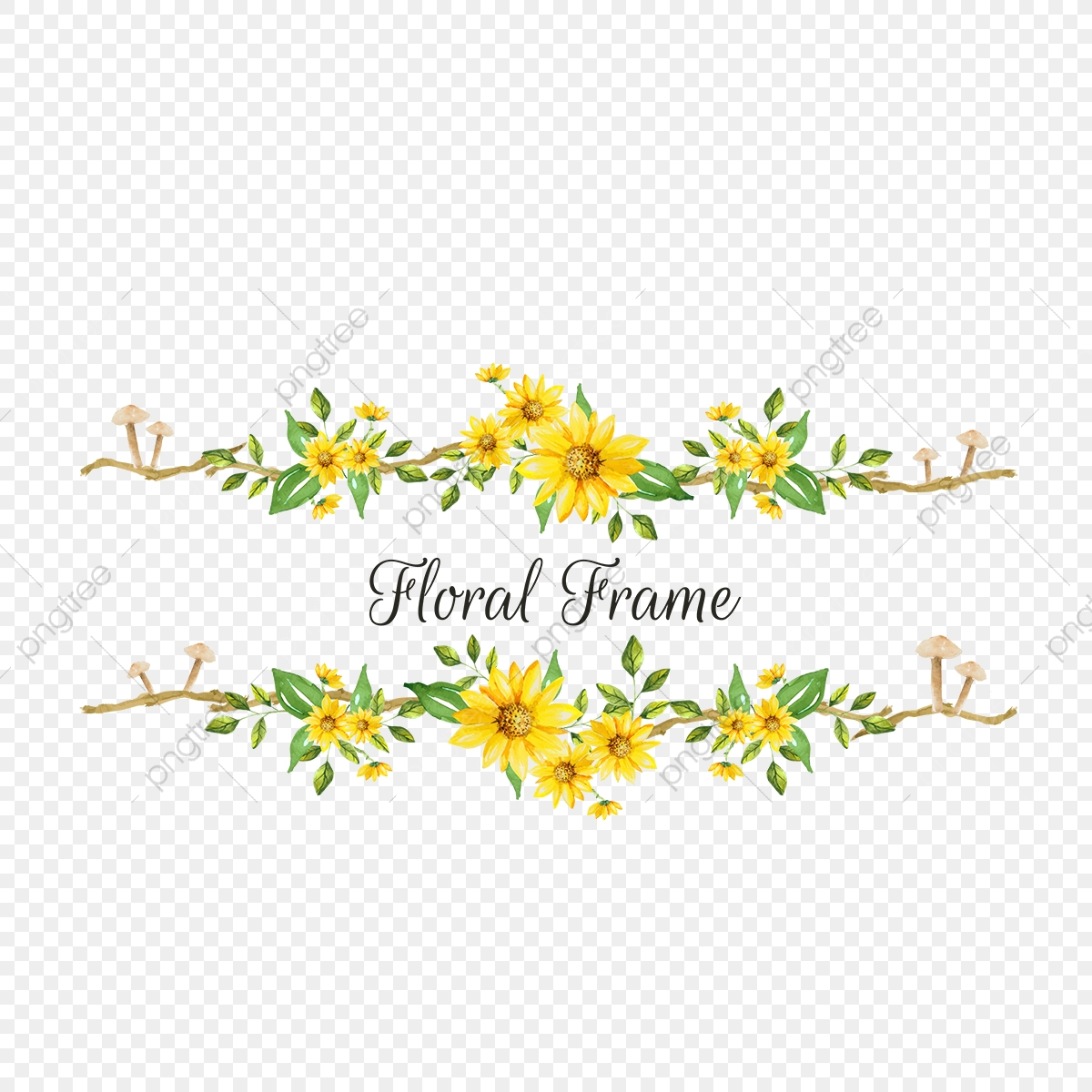 Yellow Floral Frame Png Banner Background Png And Vector With