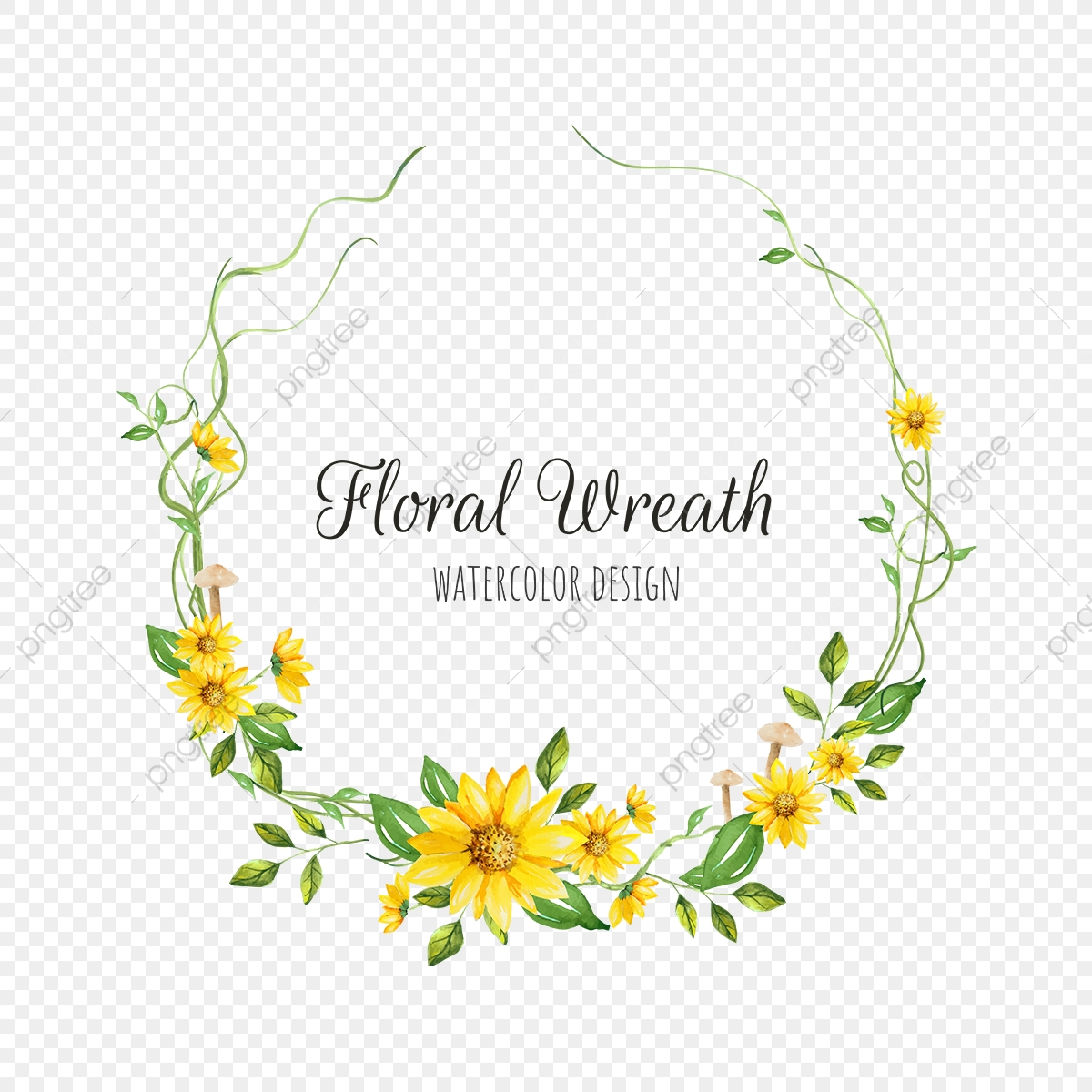 Yellow Floral Wreath Png Wreath Background Png And Vector