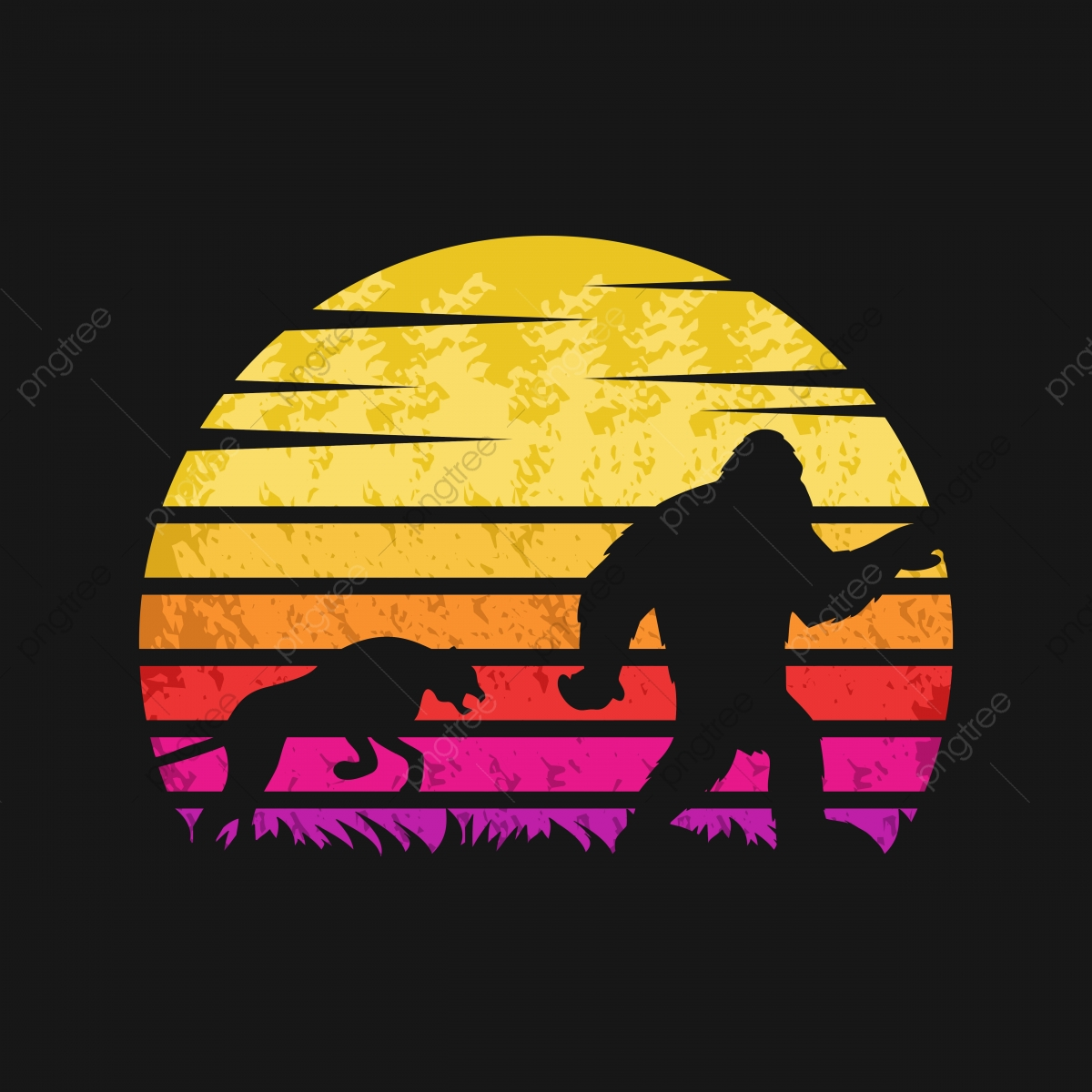 pngtree yeti and cheetah sunset retro vector illustration png image 4129261
