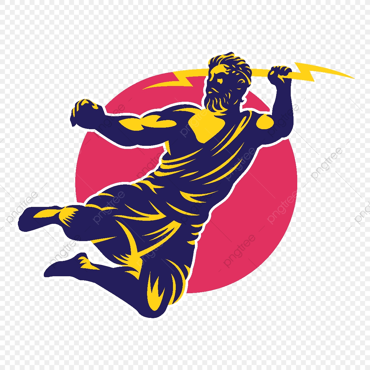 Zeus Thunderbolt Gods Mascot Logo Template, Design ...