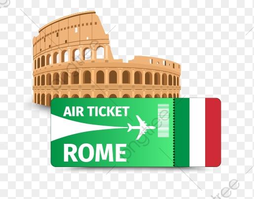 Rome Tiket Penerbangan Rome Tiket Penerbangan Kartun Tangan Dicat