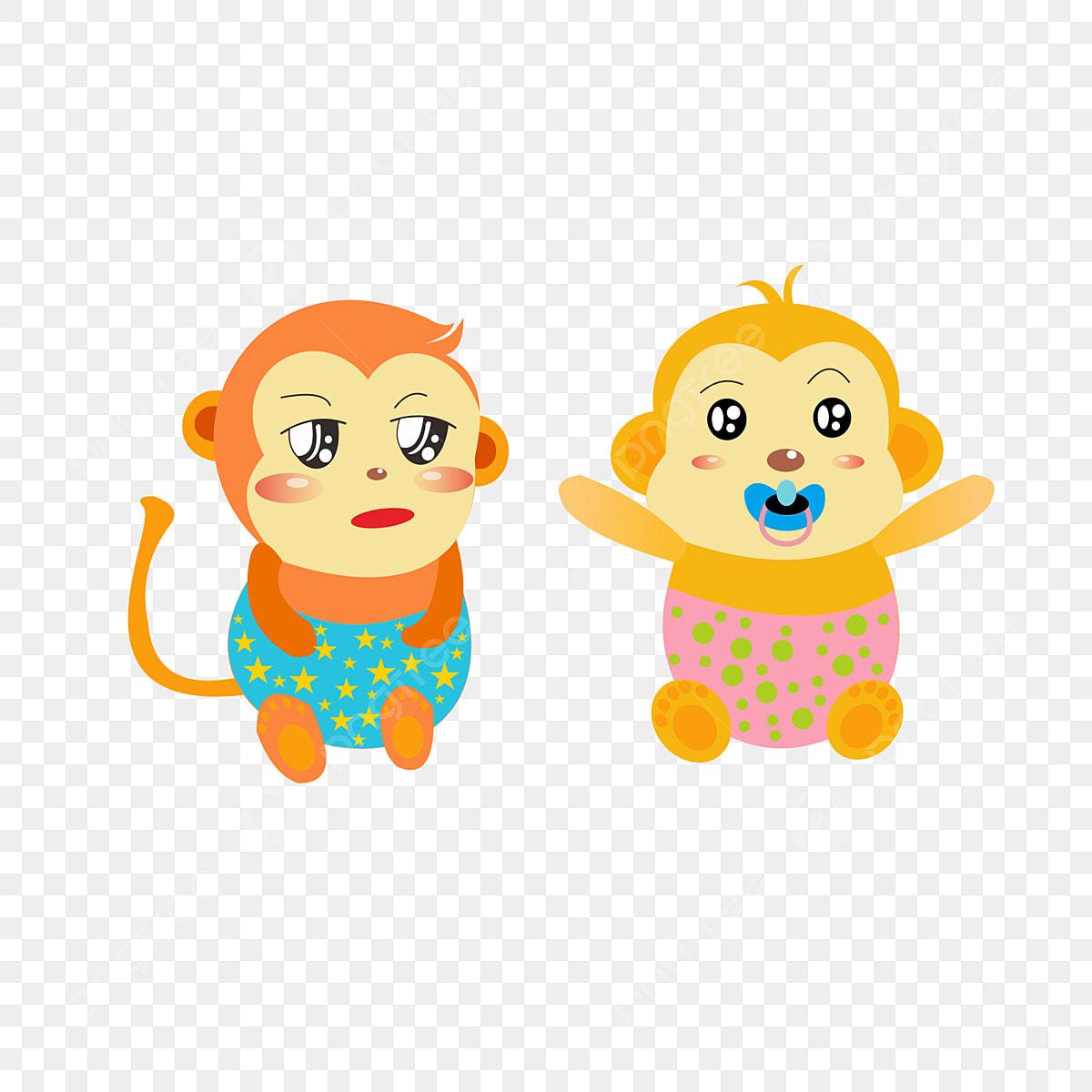 Animal Baby Elements Cartoon Bebe Fofo Macaco Irmaos Animal