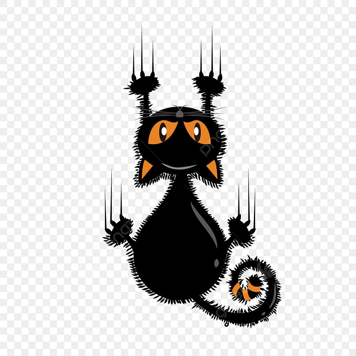 Cartoon Cute Halloween Funny Black Cat Illustration ...