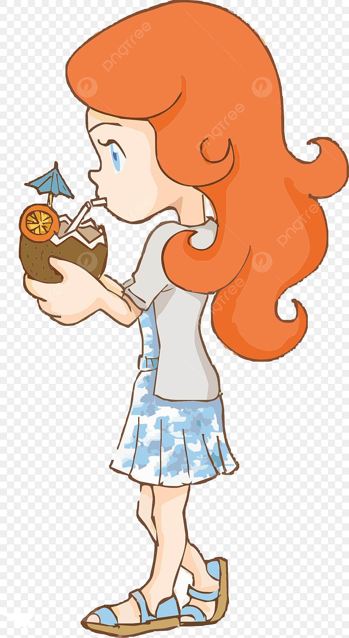 Estilo De Dibujos Animados Belleza Del Cabello Naranja Beber Jugo De Coco  Ojos Azules, Falda Larga, Belleza, Playa De Verano PNG Imagen para Descarga  Gratuita | Pngtree