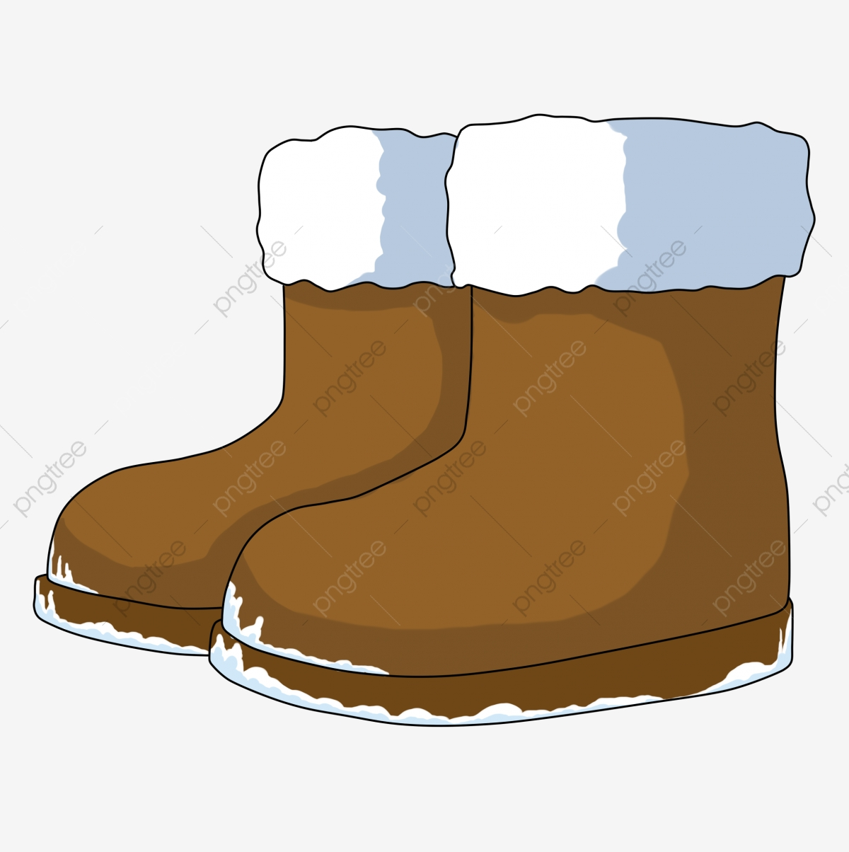 Cartoon Winter Small Things Snow Boots Brown Boots Keep ...