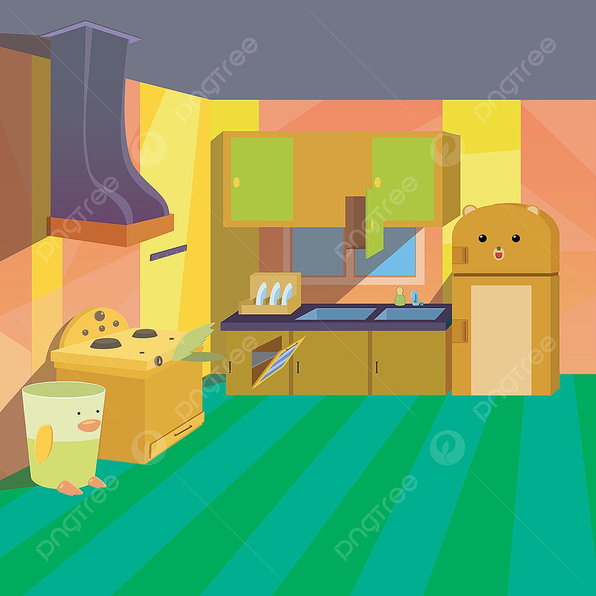 Cocina Limpia Chicos Estilo De Dibujos Animados Ilustracion