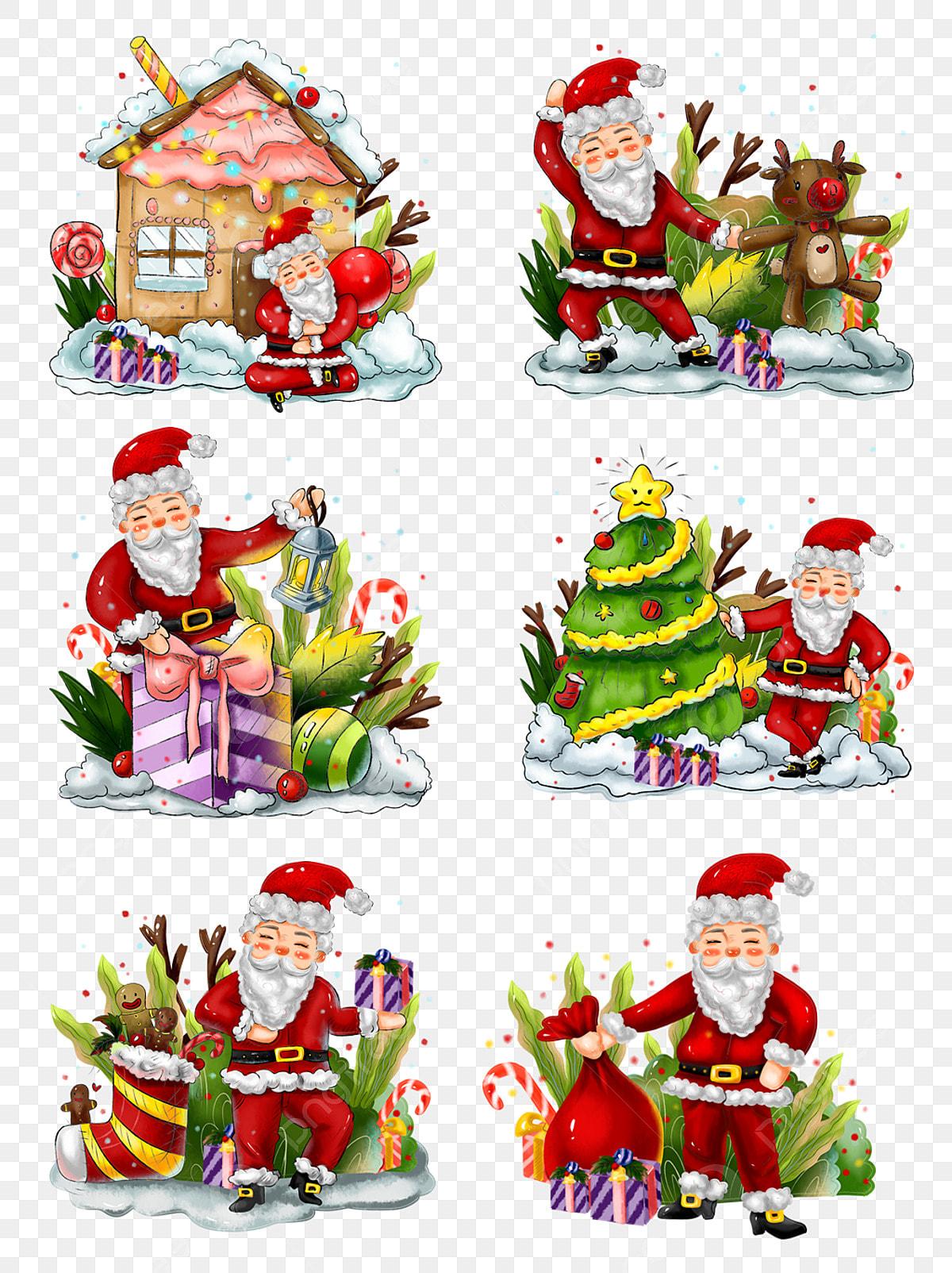 เชิงพาณิชย์วาดมือวันคริสต์มาสซานตาคลอสคริสต์มาสวัสดุโรงงานองค์ประกอบ,  บ้านขนมปังขิงภาพตัดปะ, เชิงพาณิชย์, ทาสีด้วยมือภาพ PNG และ PSD  สำหรับดาวน์โหลดฟรี