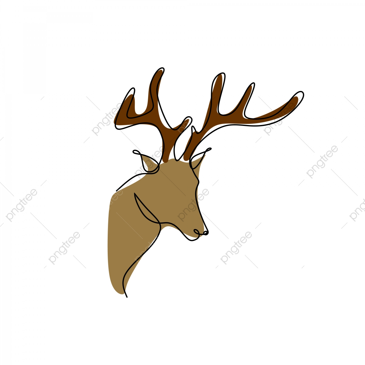 Head, Silhouette, Face, Skull, Cartoon, Deer, Heads - Draw A Deer Head -  Free Transparent PNG Clipart Images Download