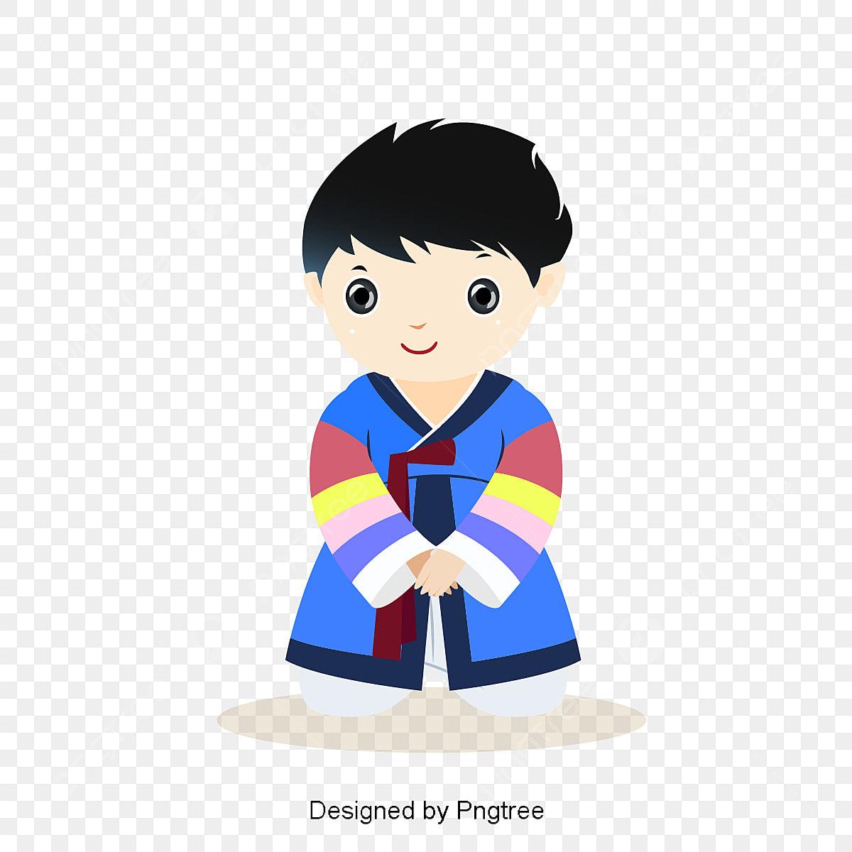 かわいい服を着て韓国服イラスト 少年 漫画少年 漫画キャラクター画像