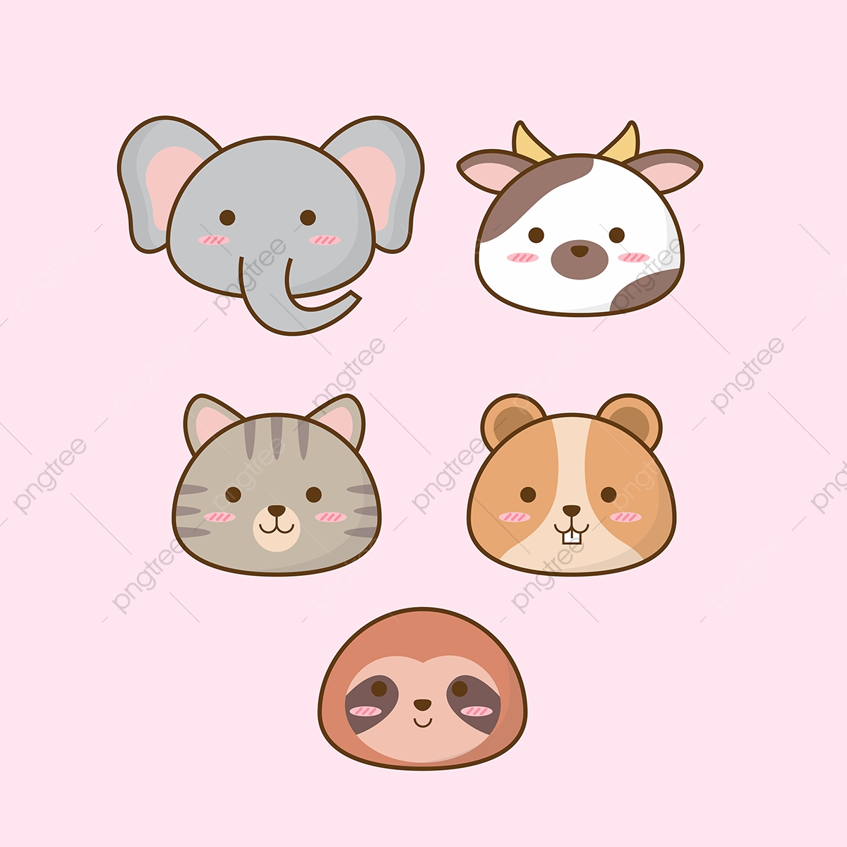 Cute animal adorable. Baby animals vector png