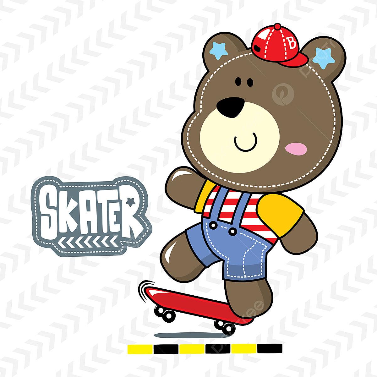 かわいい漫画テディベア白い背景の上にスケートボードのイラストベクトル