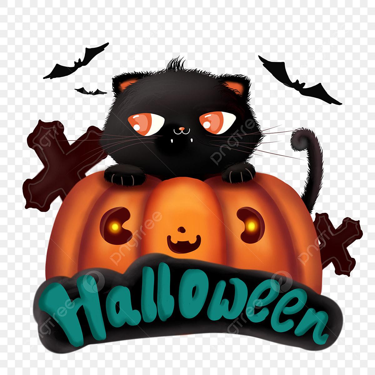 Chat Mignon Halloween De Dessin Animé Avec Citrouille Lampe