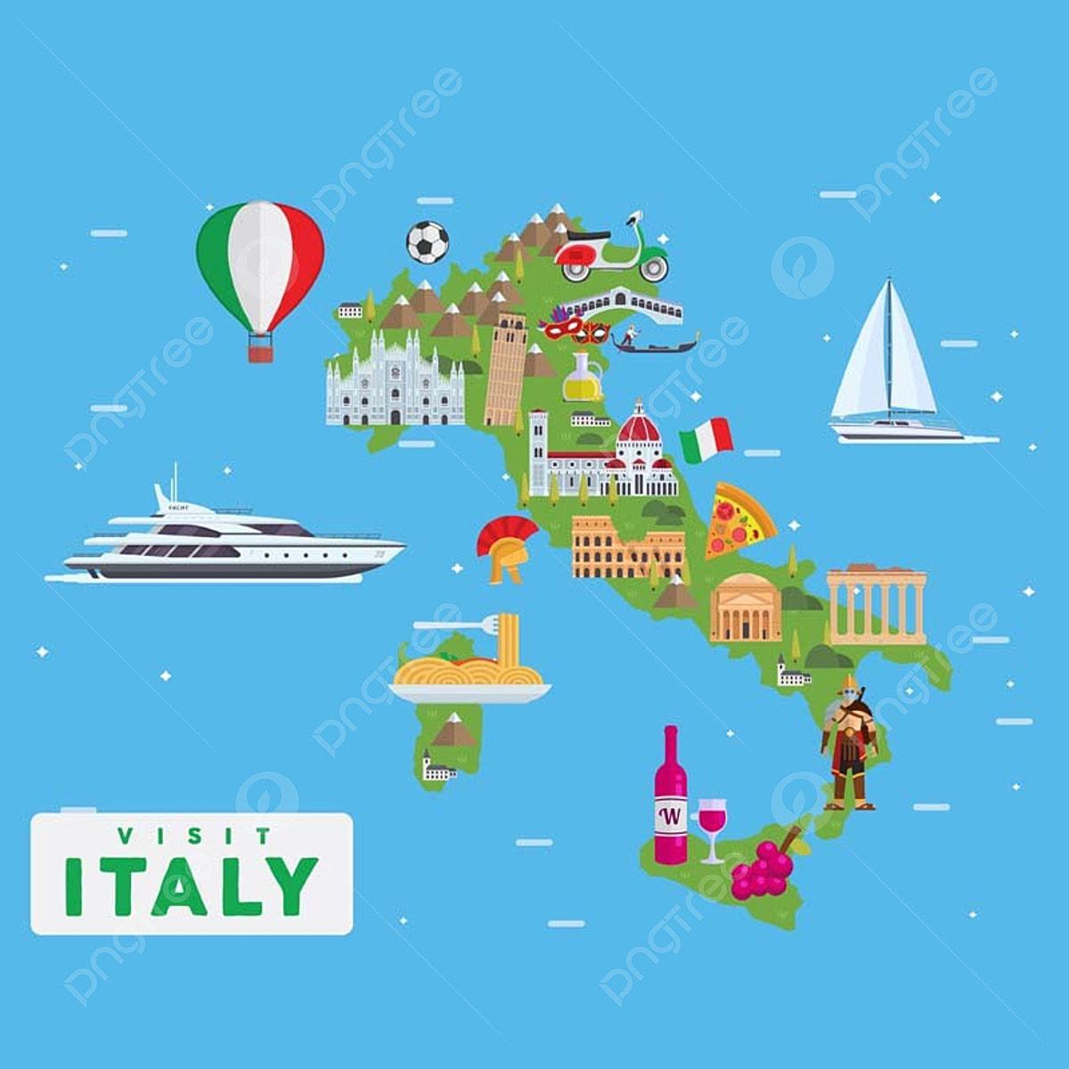 Italy Famous Tourist Destination Map Illustration Landmark