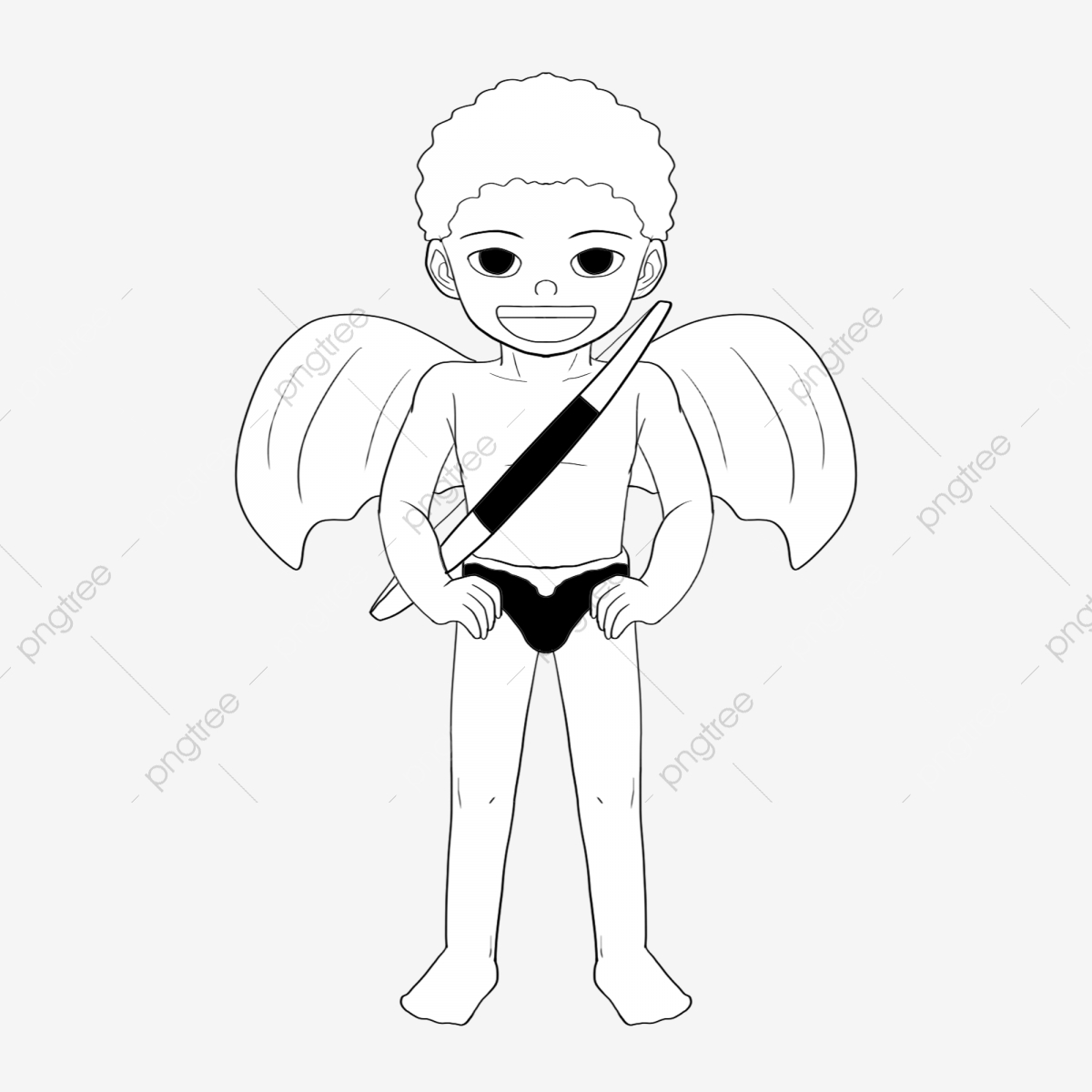 Naughty line drawing cupid full body black bow and arrow
