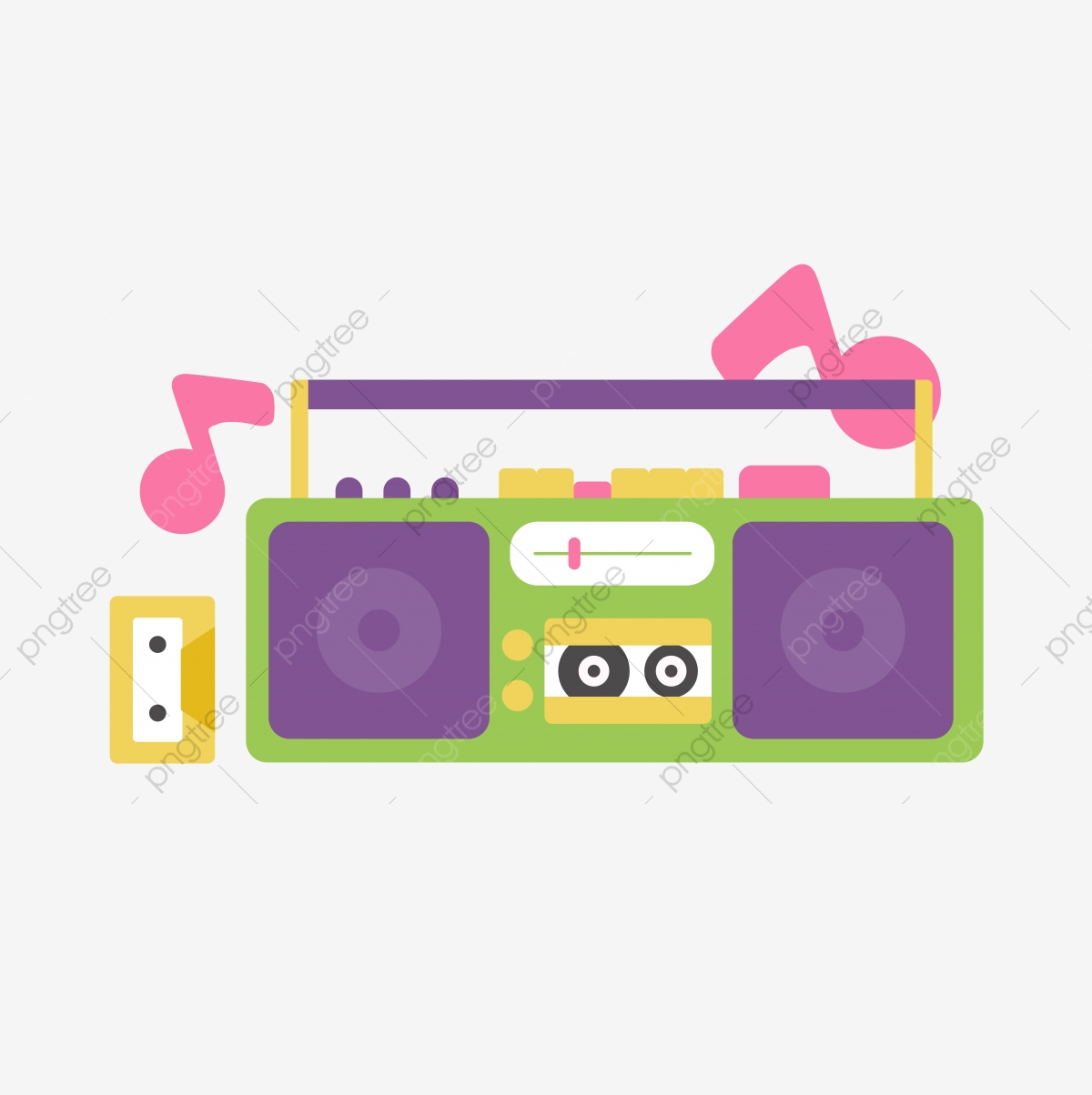 Radio Music Player Cute Cartoon Beautiful Texture, Note, Magnetic