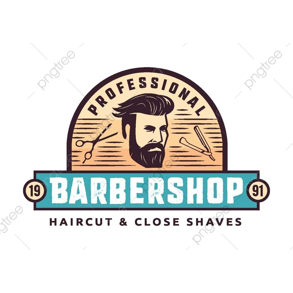 ビンテージの紳士の床屋のバッジのイラスト 髪を剃り 紳士 床屋は散髪
