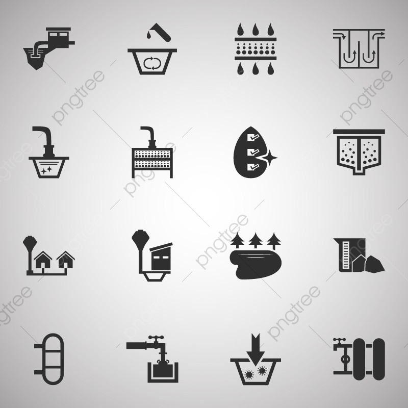 Water Treatment System And Water Filter Vector Icon Set