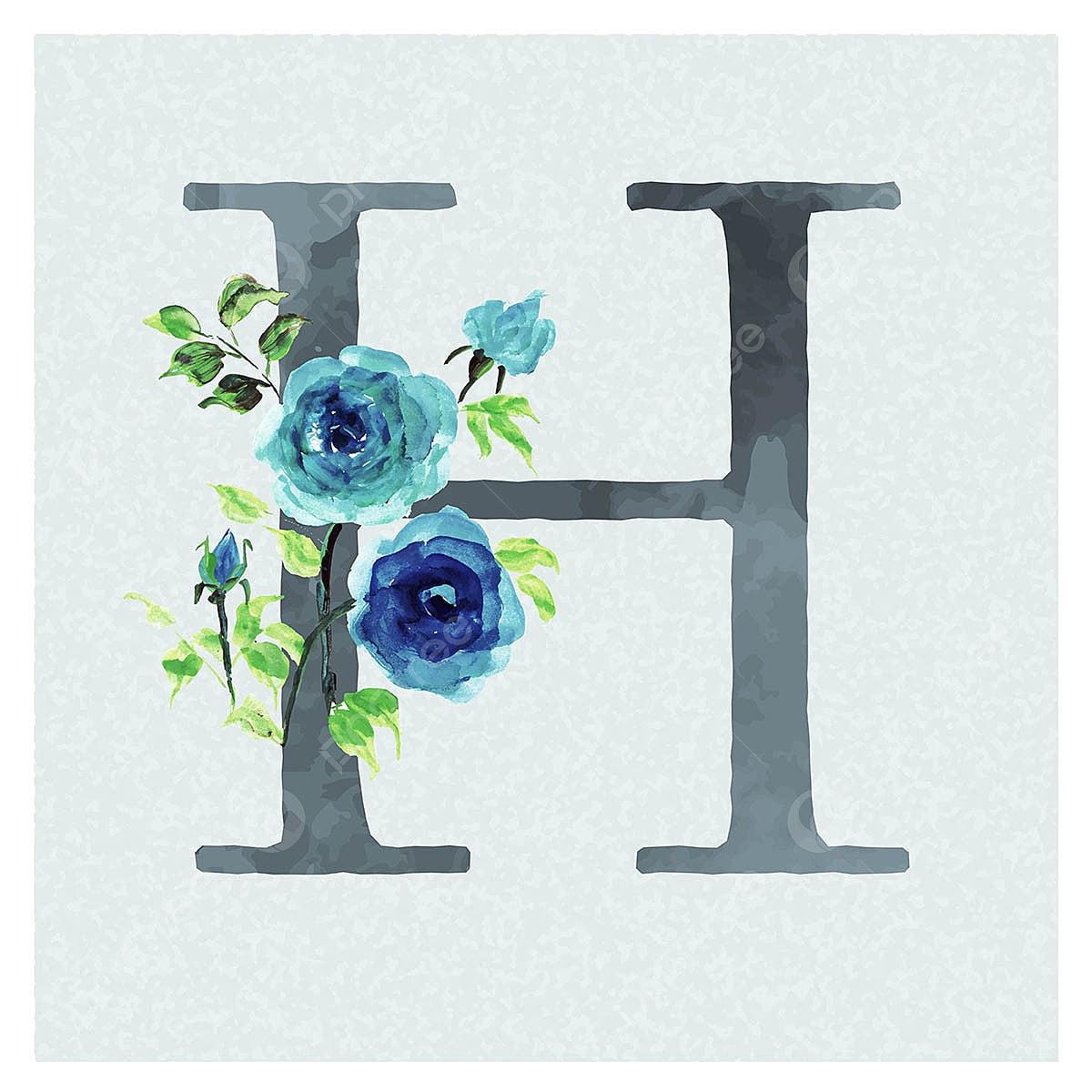 ألوان مائية الزهور الخلفية باللون الأزرق موضوع رسالة ح ألوان مائية لون باللون Png والمتجهات للتحميل مجانا