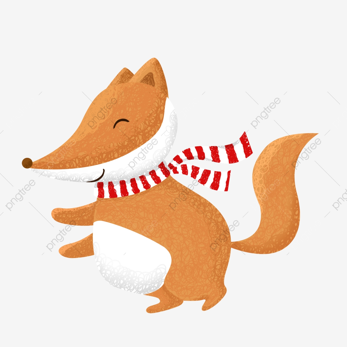 Winter Fox Surrounded By A Scarf Fox Clipart Cartoon Creative Png Transparent Clipart Image And Psd File For Free Download