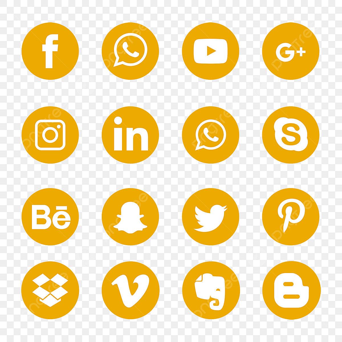 adecuado para hombres/mujeres estilo actualizado rico y magnífico Social Media Icons Set Logo Simbolo Amarillo, Social, Medios De ...