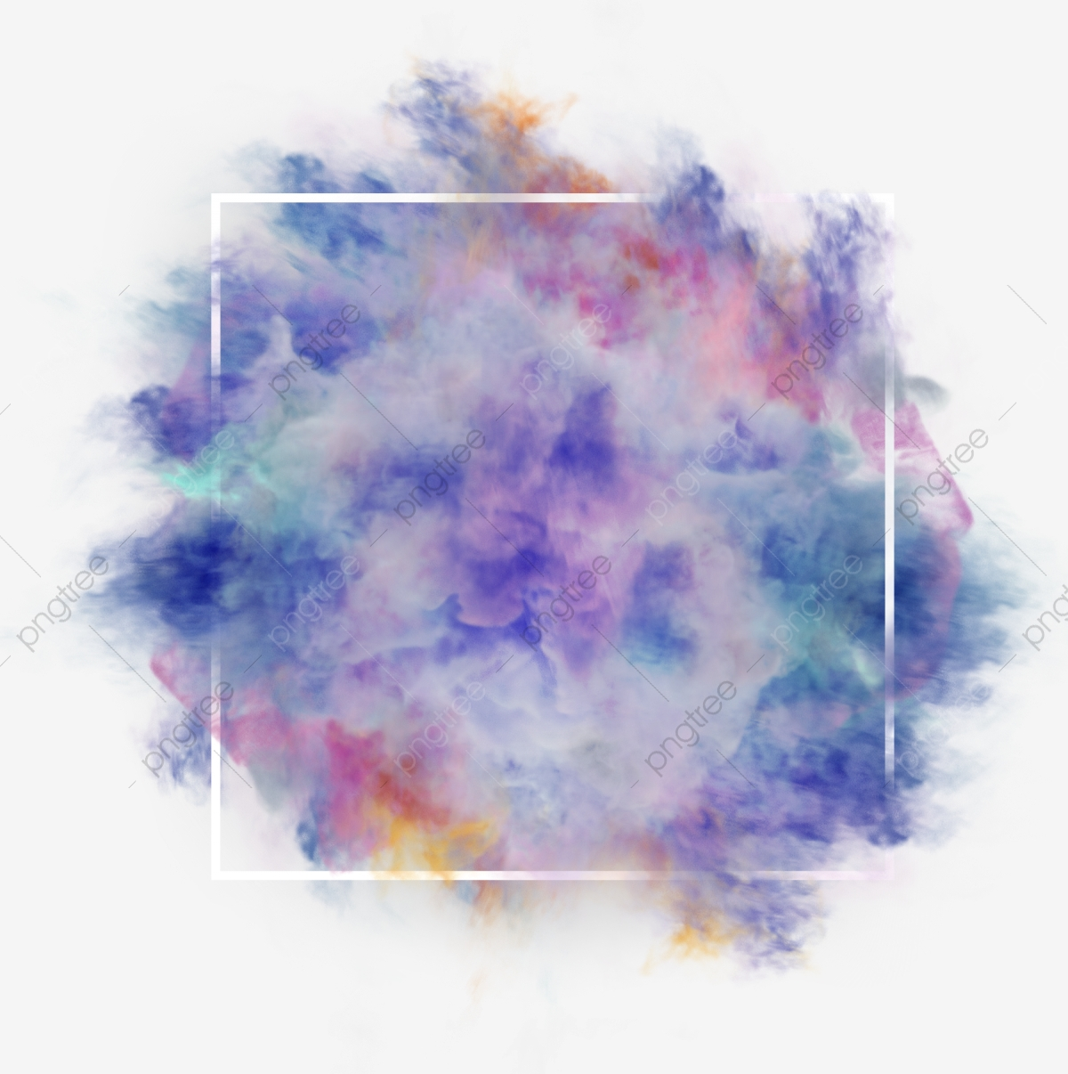 Multi Colorful Smoke Abstract Frame Watercolor Paint Blue