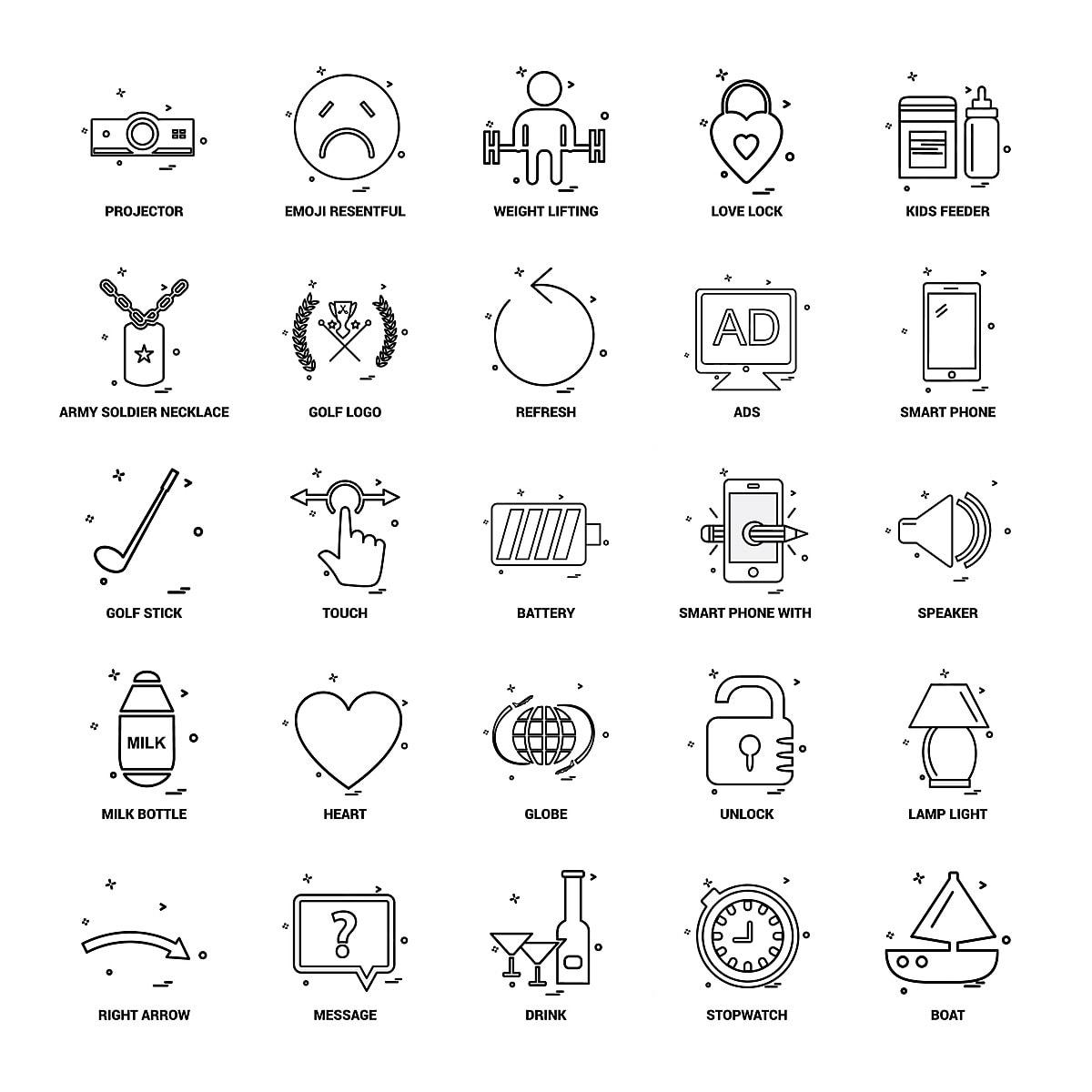 25 Concepto De Negocio Mix Linea Icon Set Army Soldier Collar