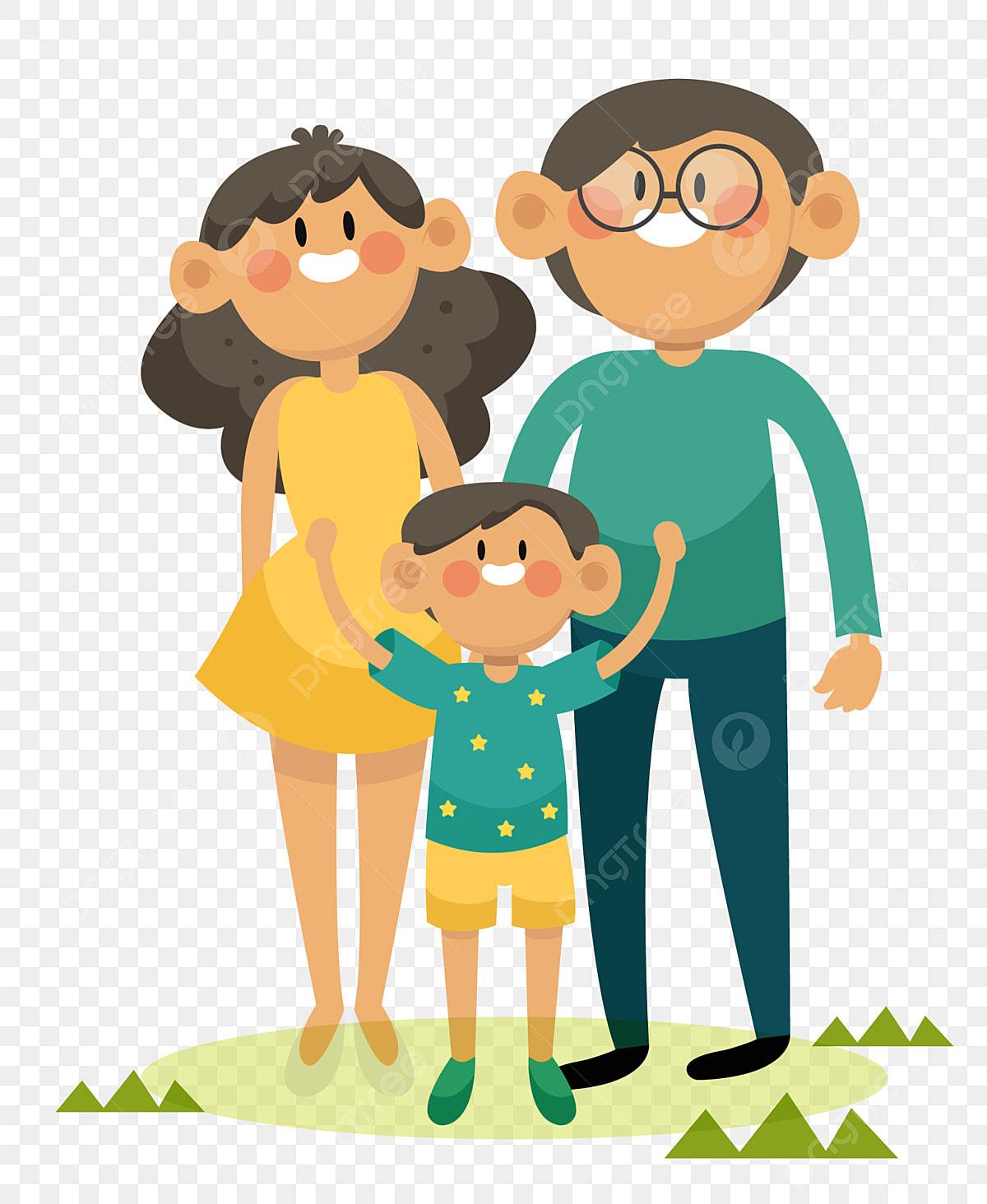 Gambar Sebuah Keluarga Yang Terdiri Daripada Tiga Kartun Ibu Dan Ayah Keluarga Bahagia Pasangan Pengantin Keluarga Tiga Png Dan Vektor Untuk Muat Turun Percuma