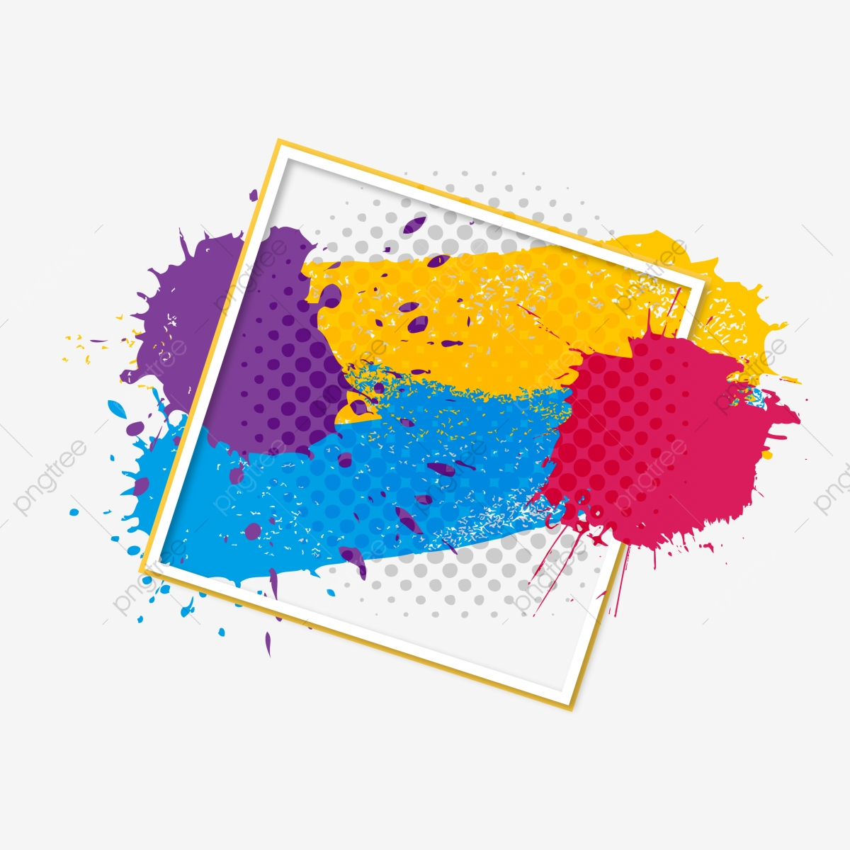 Abstract Colorful Splatter Splash Color Splash Paint Png