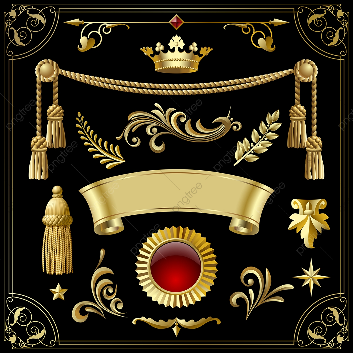 Adobe Illustrator Euclidean Vector Gold Ribbon Elegant, Crown