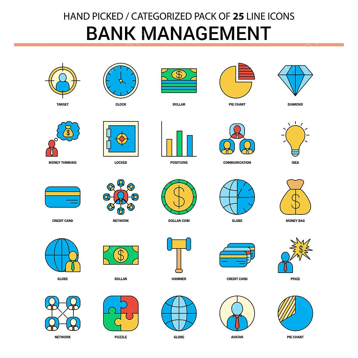 Bank Management Flat Line Icon Set - Business Concept Icons Desi