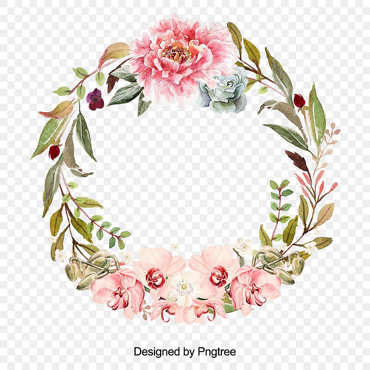 Linda Flor Grinalda Com Folhas De Desenho Flores Coroa