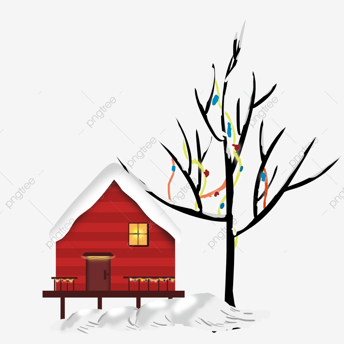House Clip Art Black and White with Snow Falling